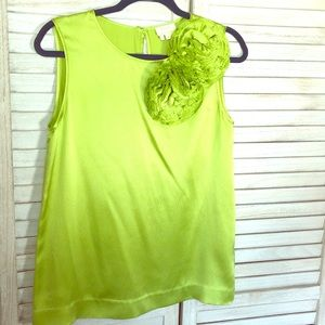 Kate Spade Sleeveless Chartreuse Silk Blouse